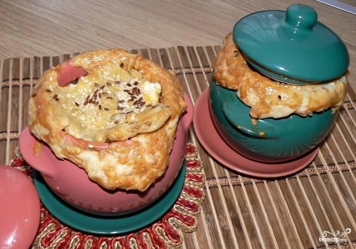 Суп из белых грибов в горшочке