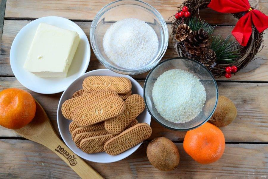 Подготовьте все необходимые ингредиенты. Я буду использовать покупное желе, но можно сделать его самостоятельно в домашних условиях, просто растворив желатин во фруктовом соке по инструкции, указанной на упаковке.