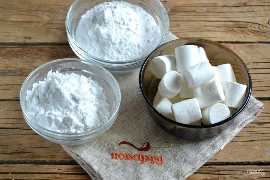 1. Подготовьте все необходимые ингредиенты. Сахарную пудру купите готовую или сделайте сами с помощью кофемолки.