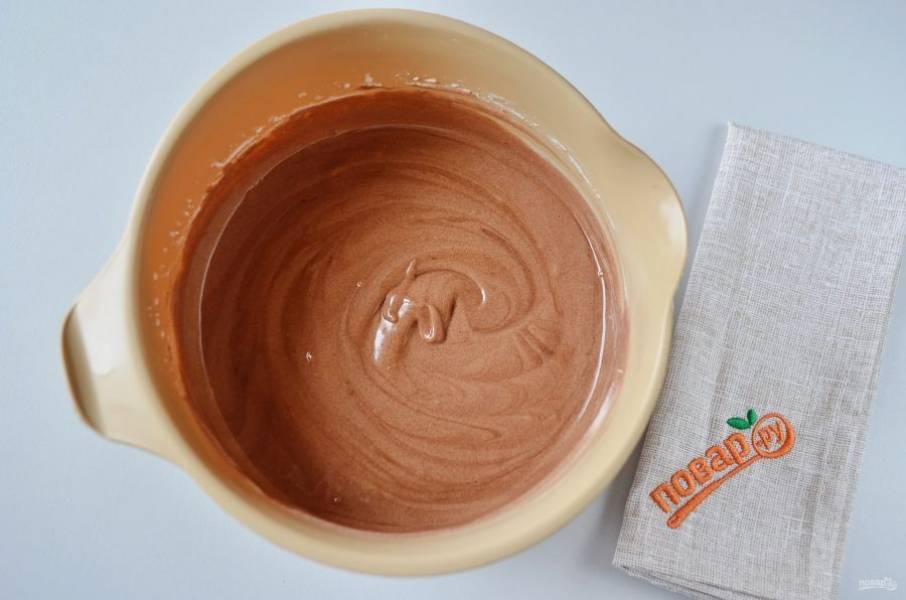 19. Первый слой с черным шоколадом готов.
