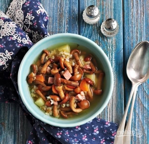 Суп с опятами замороженными