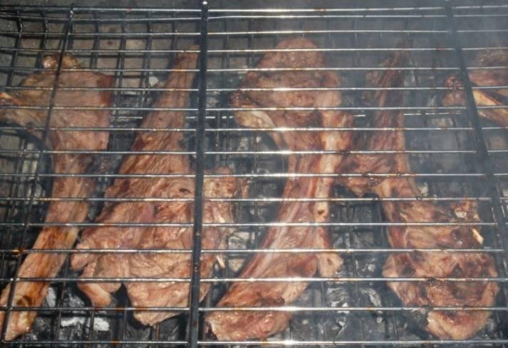 Мясо, выложенное на решетку нужно смазать растительным маслом, немного посолить и поперчить. Обжаривайте на мангале до готовности и подавайте на стол.