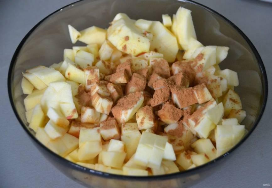 Очистите яблоки от кожуры и семян, нарежьте мелкими кусочками, добавьте к яблокам корицу, перемешайте.