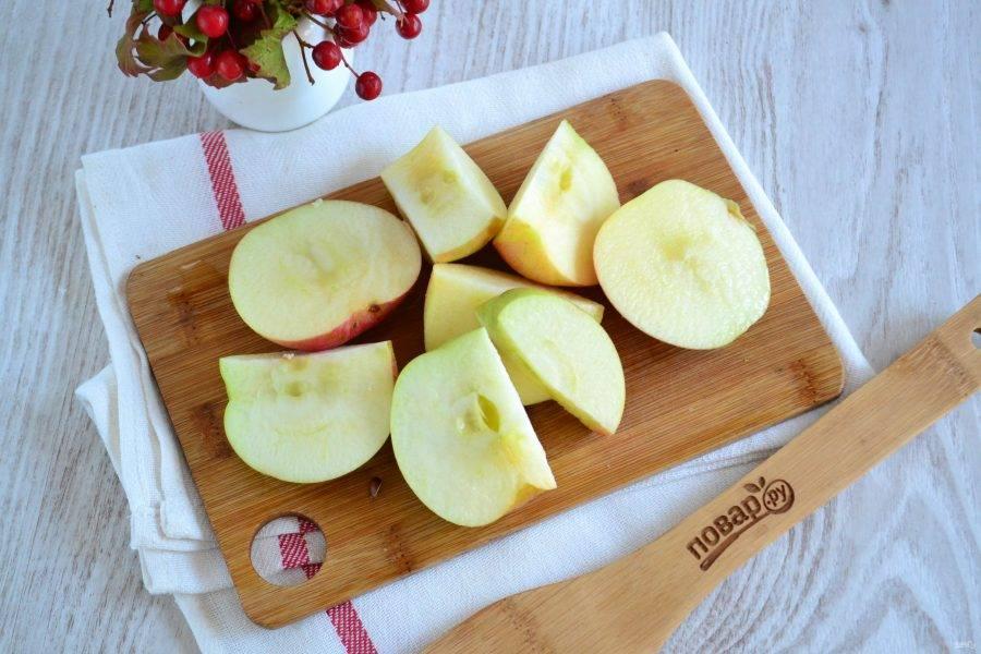 Яблоки промойте, нарежьте их дольками, удалив сердцевину.