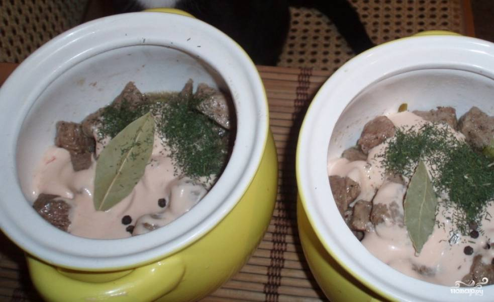 Мясо нарезаем брусочками и обжариваем на разогретом растительном масле в сковороде 5 минут до красивого золотистого цвета, слегка посолив и поперчив. Огурцы нарезаем на кубики или трем на крупной терке и выкладываем на дно горшочков, сверху выкладываем обжаренное мясо. Делаем соус, смешав майонез и кетчуп, и кладем по 3 ложки в каждый горшочек поверх мяса и огурцов. Кидаем по 3 горошинки перца, лавровый лист и посыпаем сушеным укропом.
