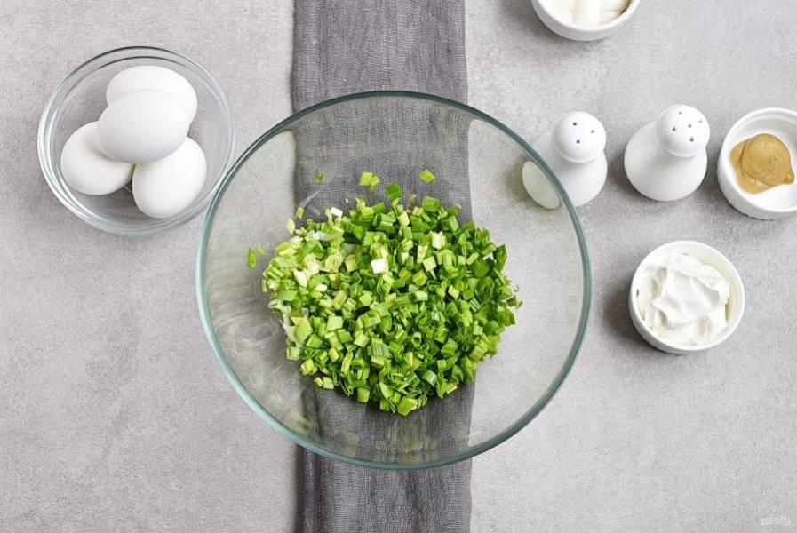 Пучок вымытого и хорошо просушенного зеленого лука нашинкуйте и выложите в миску.