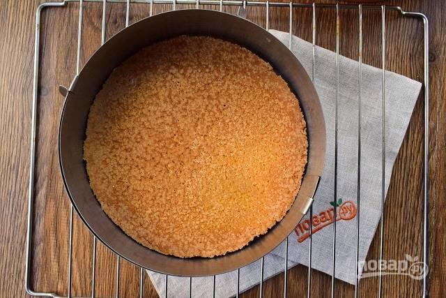 Вылейте тесто в разъемное кольцо для выпечки (d — 20 см), смазанное маслом. Поставьте запекаться в разогретую до 180 духовку на 35-40 минут, до сухой шпажки. Остудите на решетке, а потом перенесите с кольцом на блюдо.