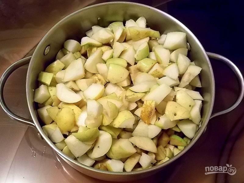 Вымойте яблоки и груши, очистите от сердцевины. Нарежьте мелким кубиком.