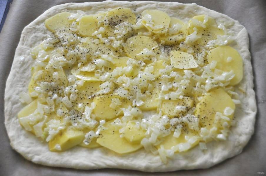 Выложите тесто на лист для выпечки, на тесто кружочки картофеля, не забудьте слегка присолить, на картофель выложите лук, поперчите.