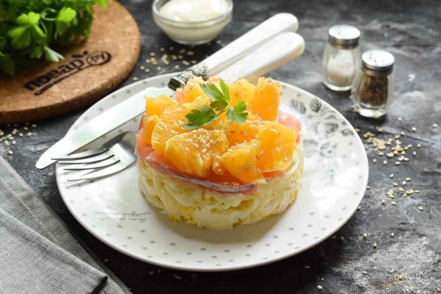 Салат с семгой и апельсинами