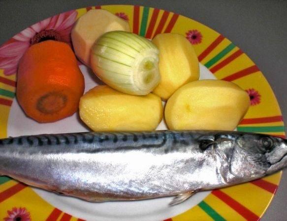 1. Вот такой весьма традиционный набор ингредиентов, необходимых, чтобы повторить этот простой рецепт рыбного супа со скумбрией.