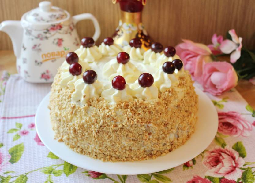 Вишневый торт с заварным кремом