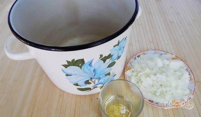 В кастрюле с толстым дном обжарьте лук в масле до золотистого цвета.