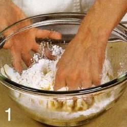 Просеять муку, щепотку соли и разрыхлитель в большую ёмкость. Взбить в отдельной ёмкости молоко с яйцами и 4 ст. л. растительного масла. Постепенно влить получившуюся смесь в муку. Вымесить однородное тесто, прикрыть и оставить при комнатной температуре , пока готовится начинка.