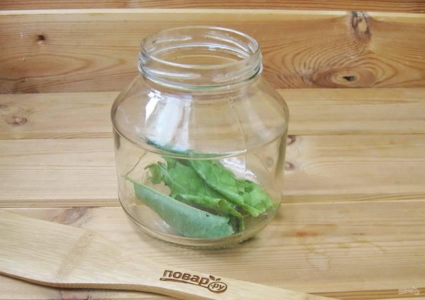 Помойте укроп, листья хрена, смородины и вишни. Банки простерилизуйте и выложите на дно листья хрена.