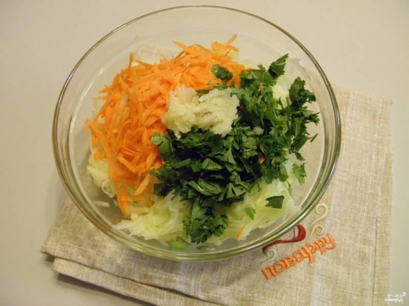 Добавьте тертую на крупной терке морковь и порезанную (некрупно) петрушку. Чеснок пропустите через пресс и добавьте к овощам.