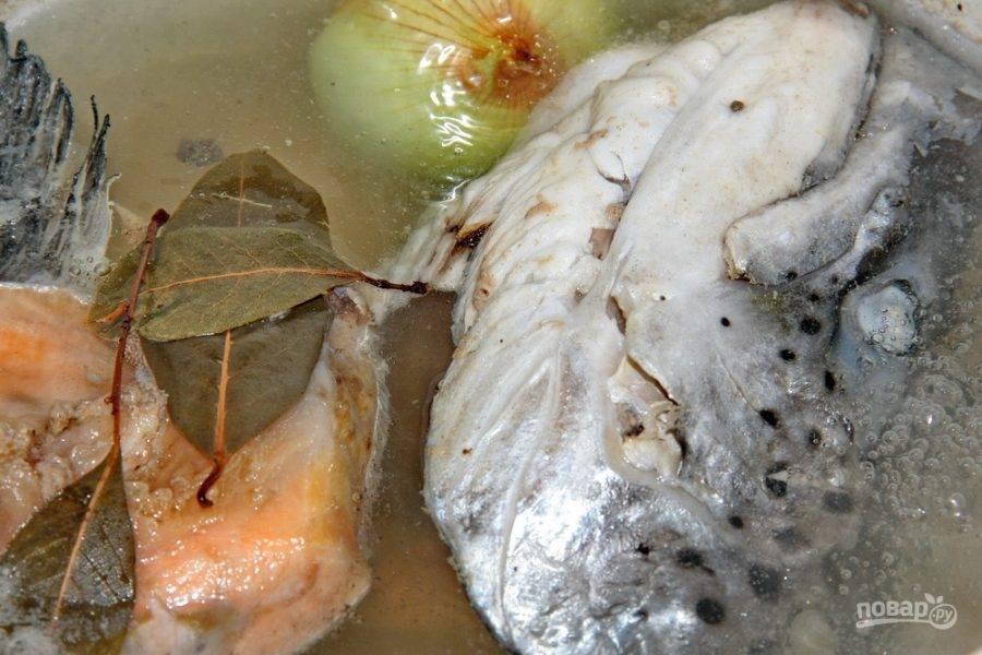 Залейте очищенную от жабр голову водой и варите вместе с целой луковицей, перцем-горошком и лавровым листом  минут 20.