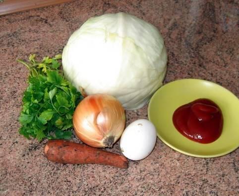 3. Теперь займемся начинкой. Подготовим ингредиенты, - лук и морковку измельчим и обжарим, а потом добавим капусту и тушим все вместе с добавлением томатной пасты.
