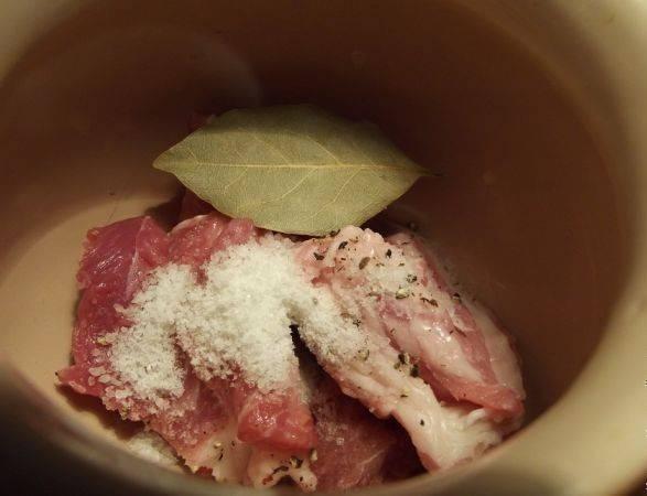 Все ингредиенты подготовлены, приступаем к сборке блюда. У меня 4 горшочка. На дно каждого выкладываем мясо, посыпаем солью и перцем. Добавляем лаврушку.