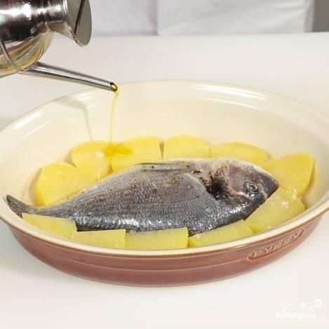 Картофель нарезаем на дольки толщиной около 1 см. Кладем в кипящую воду, отвариваем примерно 5 минут, после чего кладем в форму для запекания вместе с рыбой. Сбрызгиваем оливковым маслом сверху.