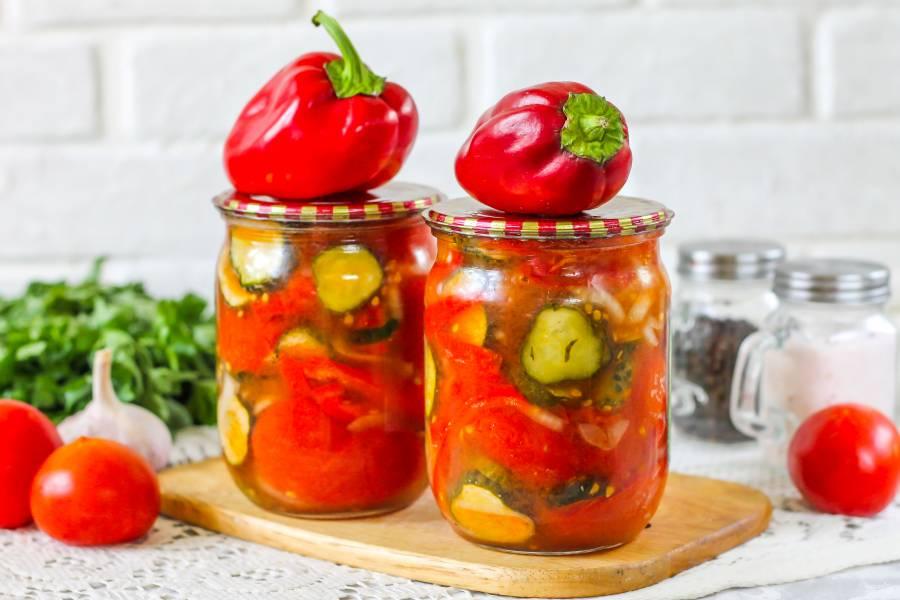 Салат из перцев, огурцов и помидоров на зиму