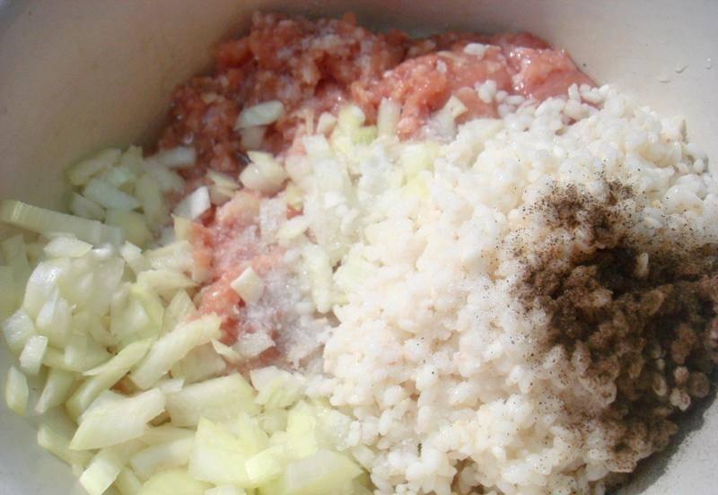 Одну луковицу мелко нарежьте. Смешайте её с фаршем, рисом, паприкой, перцем, солью и небольшим количеством воды. Вода нужна, чтобы фарш не получился слишком твердым.