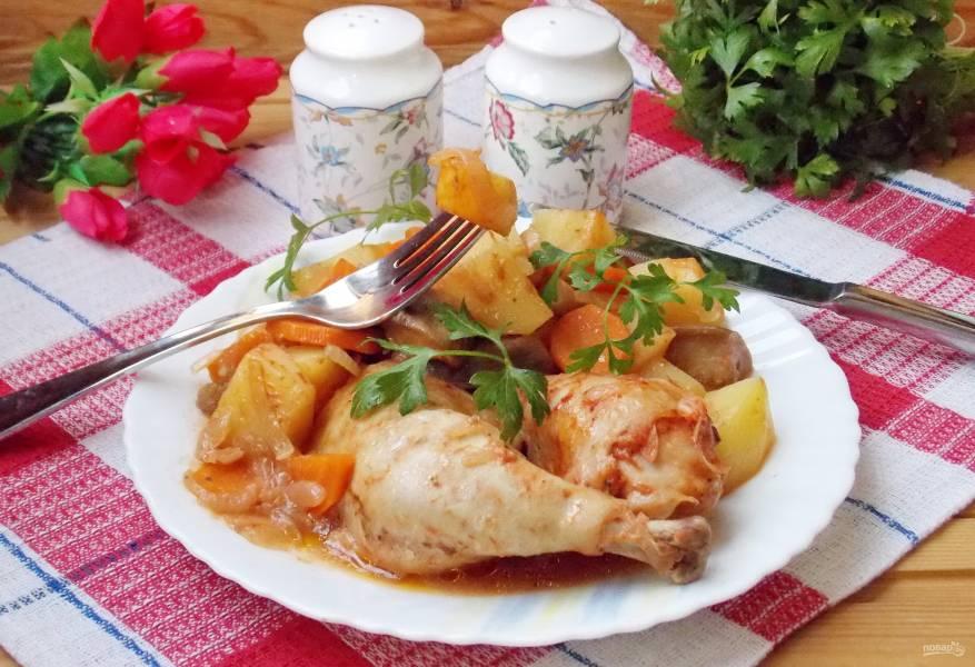 Рагу из курицы с баклажанами в рукаве