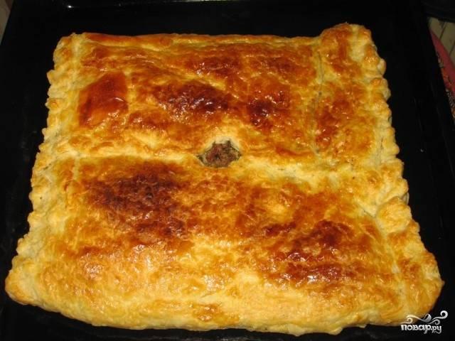 Отправьте в разогретую до 200 градусов духовку на 20 минут. Пирог должен стать золотистым и румяным.