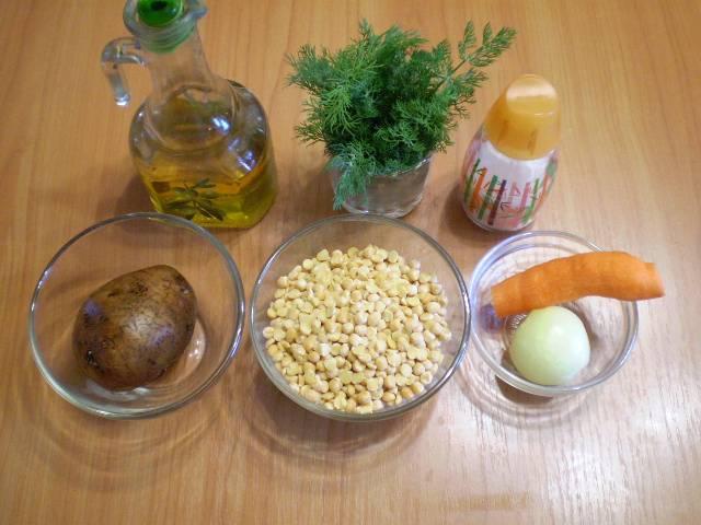 1. Приготовим продукты для горохового супа.