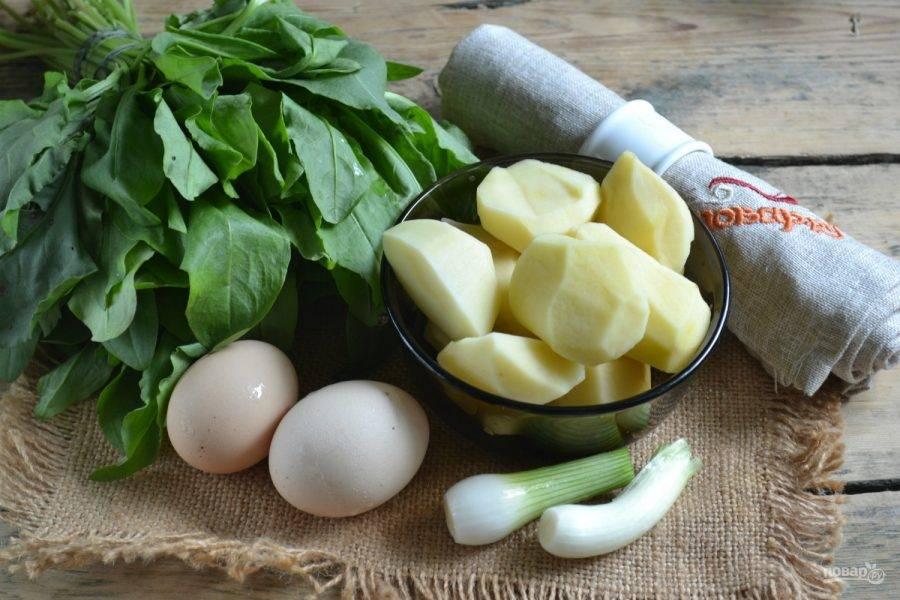 Подготовьте все необходимые ингредиенты. Заранее отварите яйца вкрутую. Промойте и переберите щавель, а картофель и лук очистите.