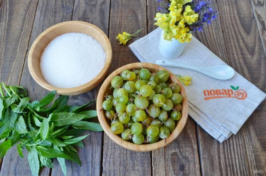 Подготовьте ингредиенты для варенья. Крыжовник хорошо вымойте и переберите от порченных ягод. Веточки мяты сполосните под водой от пыли.