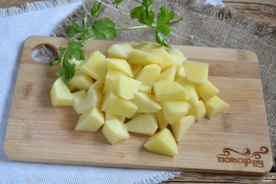 Вскипятите воду. Картофель порежьте небольшими кусочками и отправьте вариться.