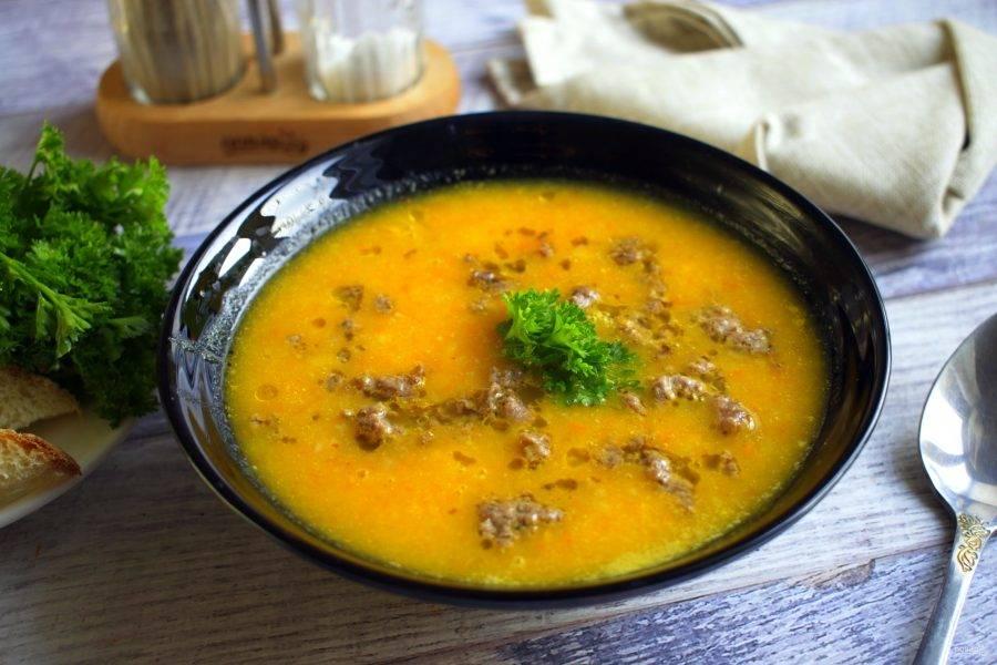 Сервируем суп в тарелку с мясным фаршем и свежей петрушкой. Приятного аппетита!