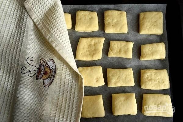 Выкладывайте заготовки на противень с пергаментом для выпечки. Накройте полотенцем и оставьте в теплом месте на 30-40 минут для расстойки.
