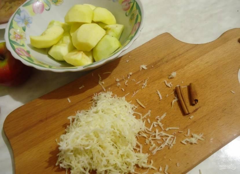 1.Яблоки мою и очищаю от кожуры, затем разрезаю их на 2 части и очищаю от семян. Каждую часть разрезаю еще на 2 части. Сбрызгиваю яблоки лимонным соком, чтобы не почернели. Корень имбиря очищаю и измельчаю на мелкой терке.