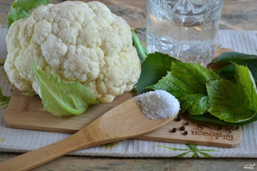 Подготовьте все необходимые ингредиенты. Кочан капусты должен быть приятного белого или кремового цвета без тёмных пятен.