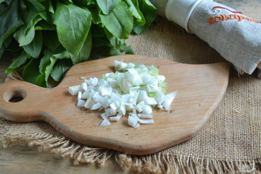 Лук измельчите и пассеруйте в 1 ст. ложке подсолнечного масла до золотистого цвета.