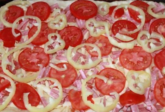 Выкладываем тесто на противень, сверху смазываем кетчупом и майонезом (тонким слоем). Присыпаем тертым сыром и выкладываем колбасу и овощи.