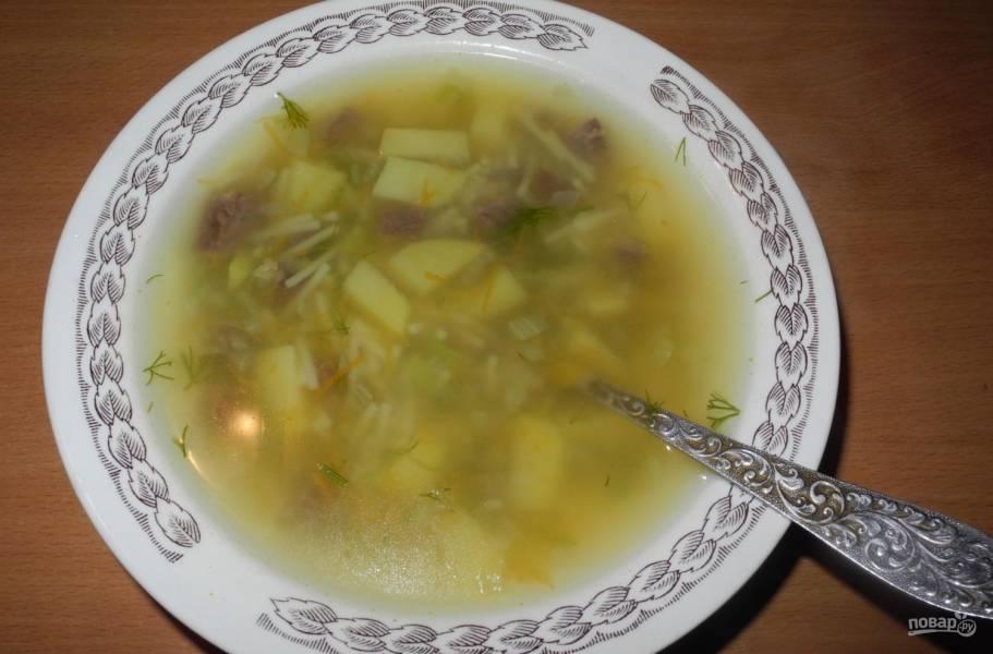 Суп из говядины с вермишелью
