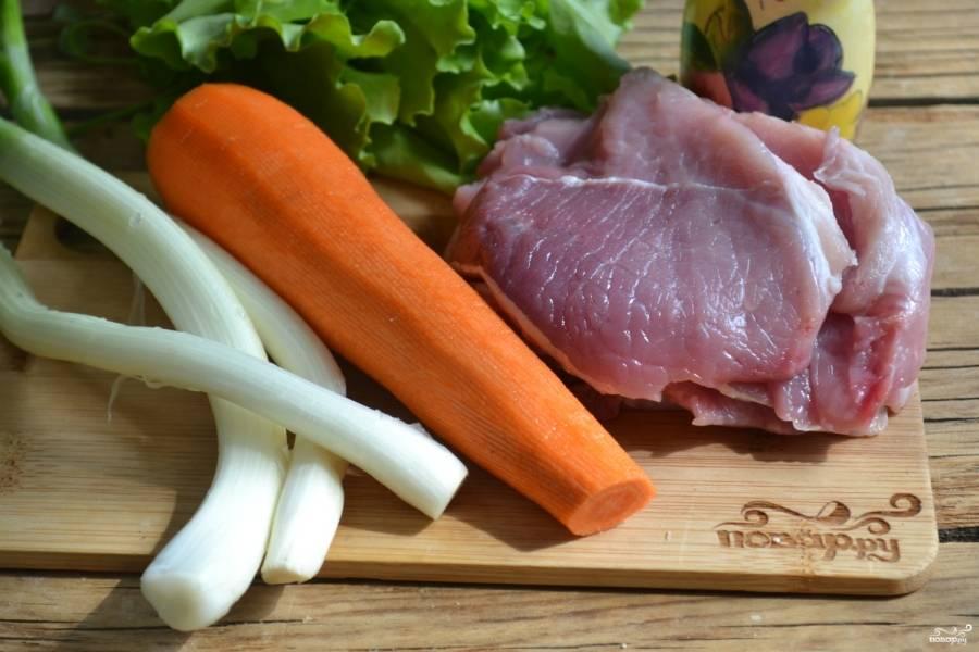 Подготовьте все необходимые ингредиенты. Мясо я заранее порезала на тонкие пластины толщиной около 7-8 мм. Лук и морковь очистила.