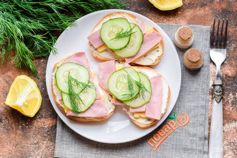 Бутерброды с ветчиной и огурцом