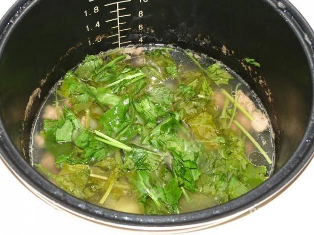 """Включите режим """"Суп"""" на 30 минут. За 5 минут до готовности добавьте нарезанный и промытый щавель в суп вместе с лавровым листом. Суп посолите и поперчите."""