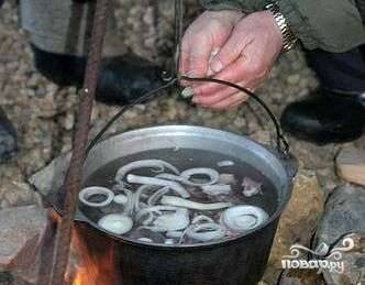 Сразу добавить лук порезанный кольцами.