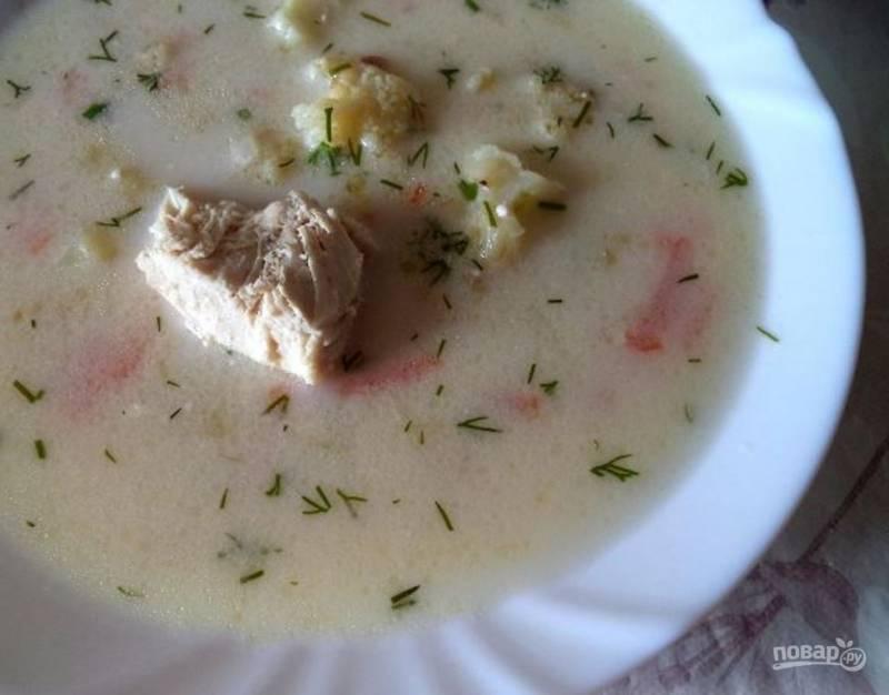 Куриный сырный суп с плавленым сыром
