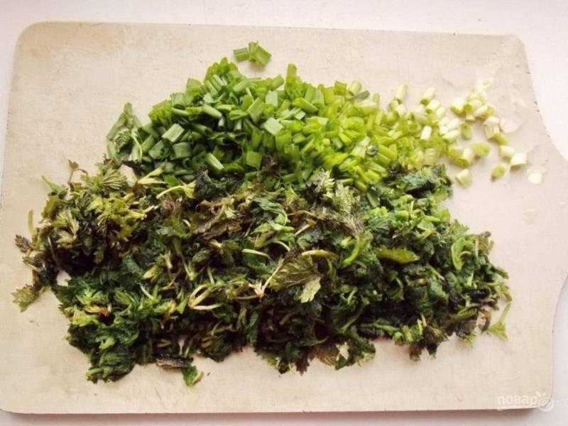 5. Нарежьте крапиву и зеленый лук (можно любую зелень по вкусу).