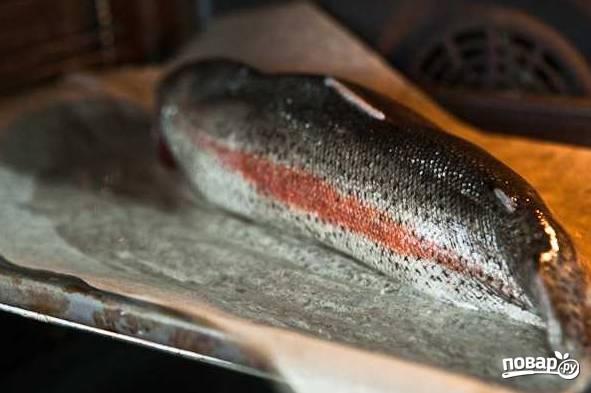 9. Выложите на пергамент, смазанный маслом, брюшком вниз. Отправьте противень с рыбой в духовку.