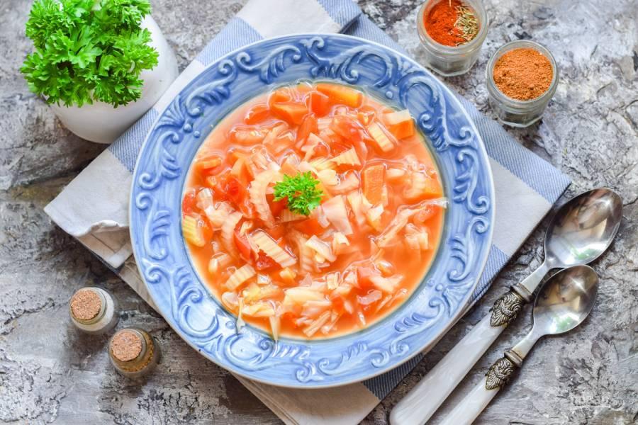 Томатный суп с сельдереем для похудения