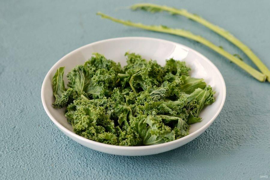 Кейл помойте, обсушите. Отделите листья от стеблей. Для смузи используйте только листья.
