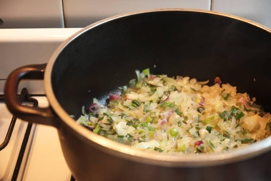 Прогрейте масло на сковороде и слегка обжарьте лук, до тех пор пока он не станет прозрачным. Постоянно помешивайте, чтобы лук не пригорел.