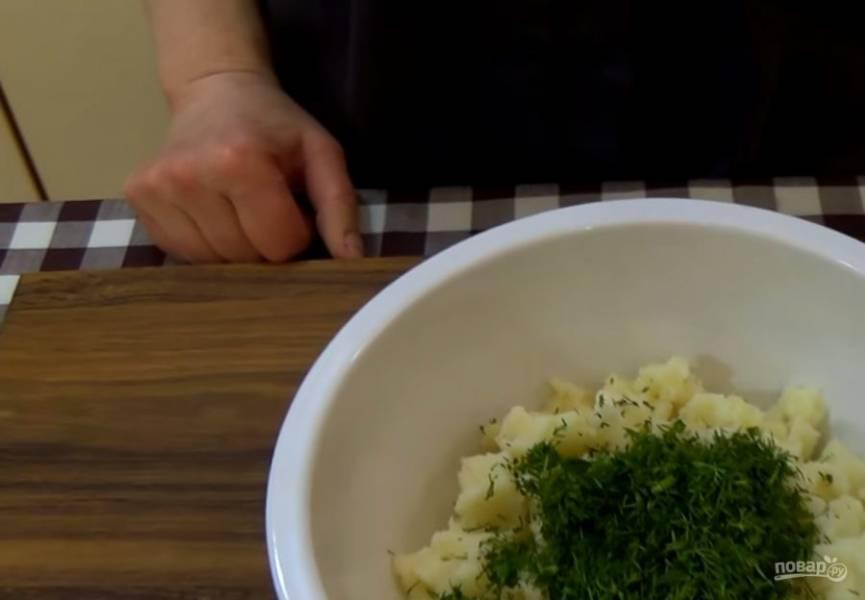 2.  Слегка вымесите тесто, заверните его в пищевую пленку и поставьте в холодильник на 30 минут. Остывшее картофельное пюре смешайте с зеленью укропа, посолите и поперчите по вкусу.